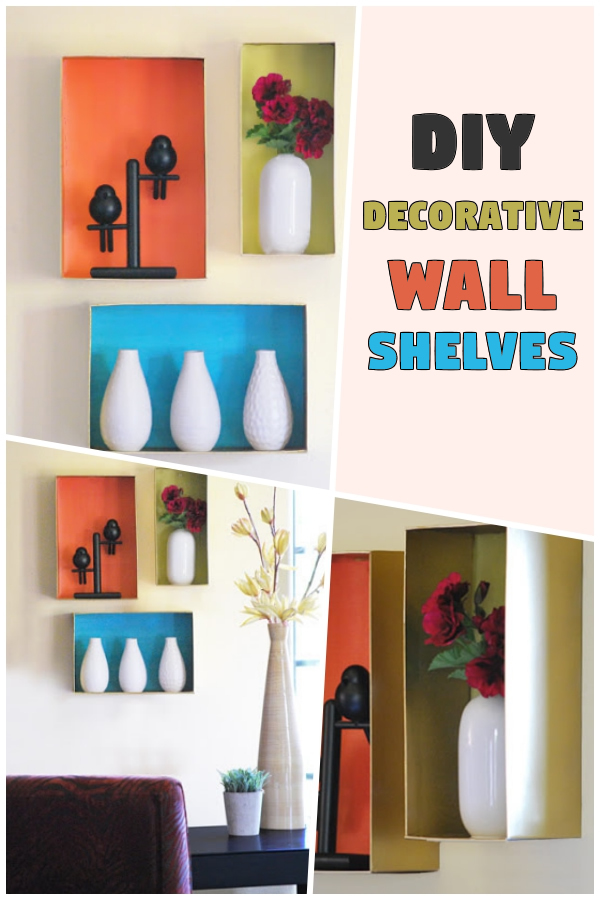 DIY Decorative Wall Shelves from Shoeboxes