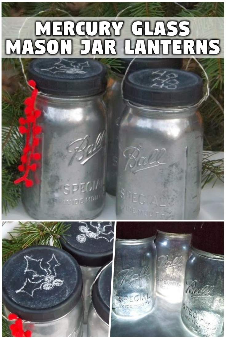 Mercury glass mason jar Christmas lanterns