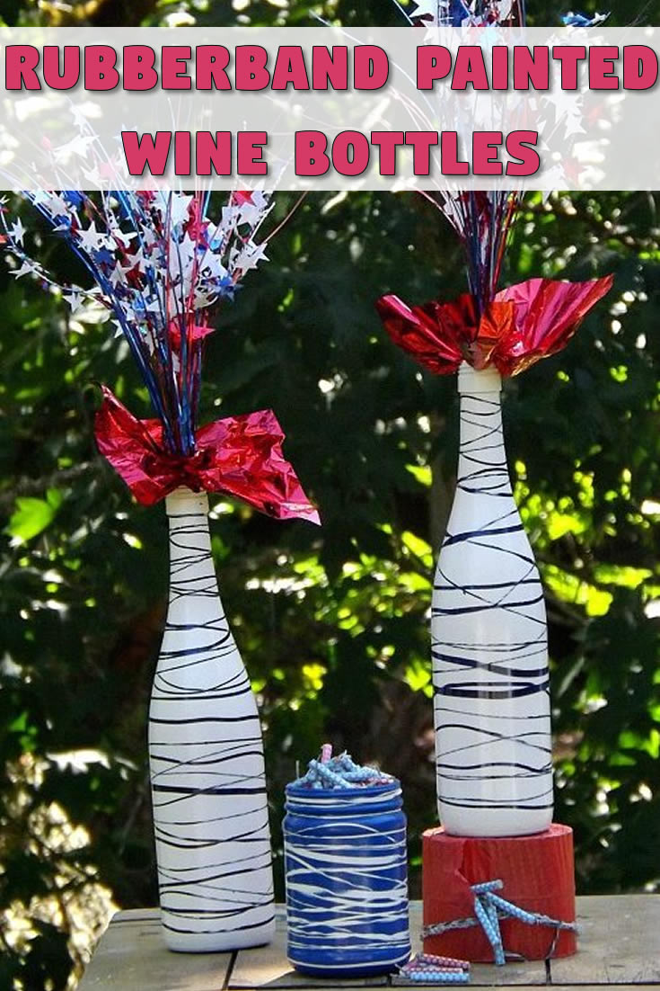 Rubberband Painted Wine Bottles