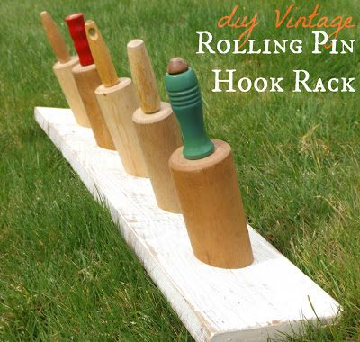 Vintage Rolling Pin Hook Rack