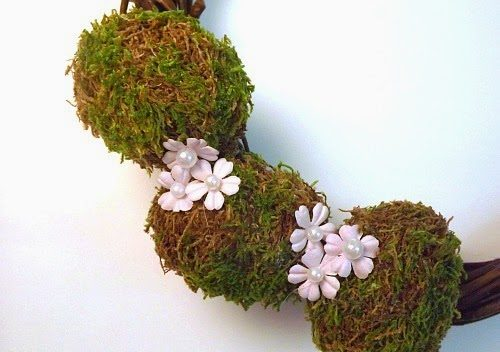 Wreath with Moss Covered Eggs