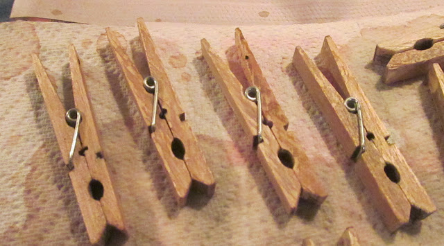 DIY Stain-Aged Clothespin Holder
