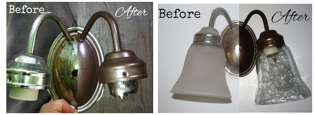 How to Redo a Bathroom Vanity Light Fixture - Makeover Addition!