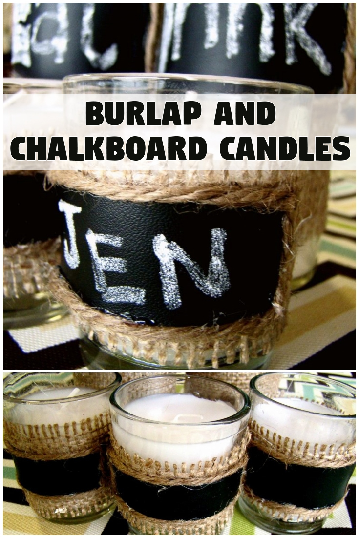 Burlap and Chalkboard Candles