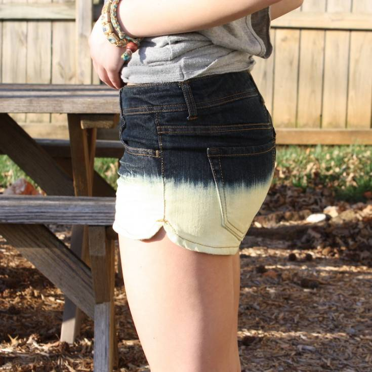 Bleach Dipped Jeans Shorts
