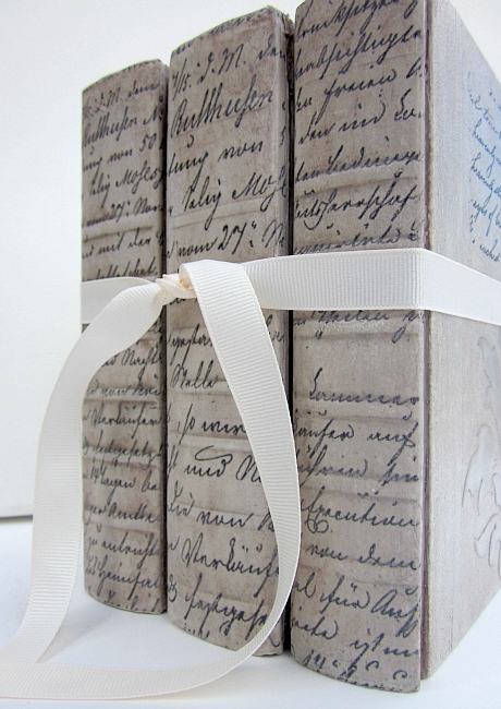 DIY decorative books with raised stencils and image transfers
