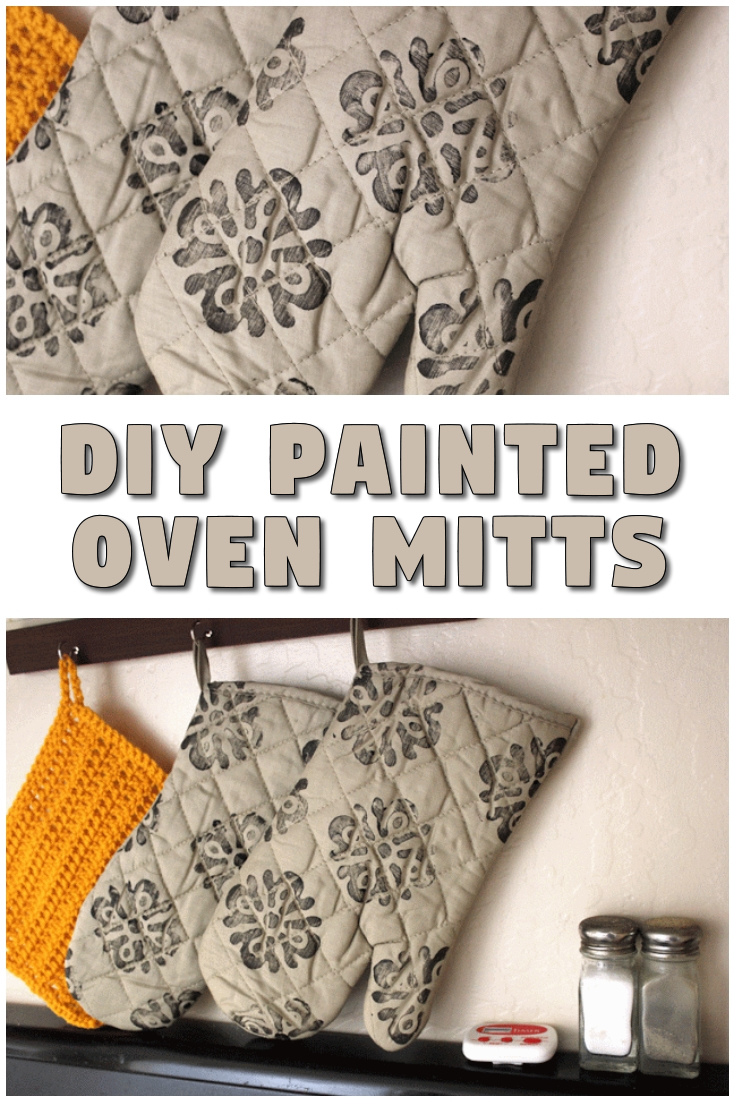 DIY Painted Oven Mitts