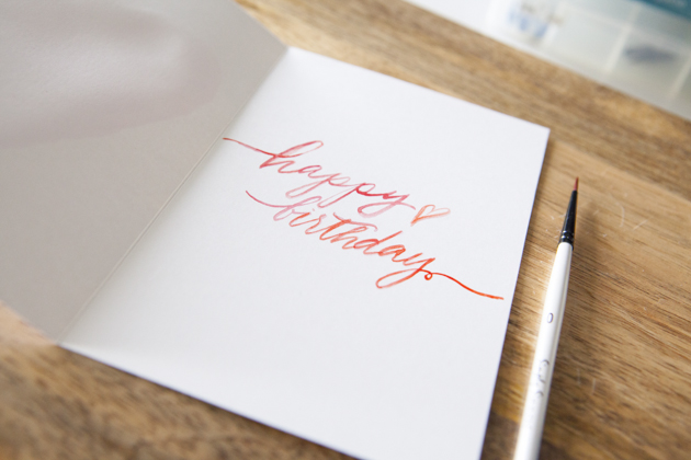 DIY Watercolour and Calligraphy Birthday Card