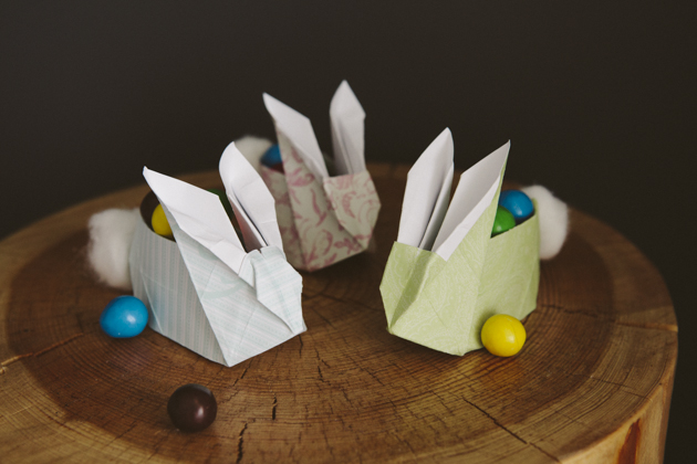 Origami Easter Bunnies with Cotton Bums