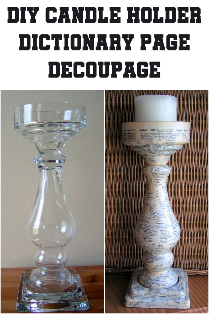 DIY Candle Holder – Dictionary Page Decoupage