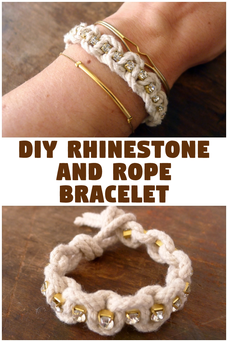 DIY Rhinestone and Rope Bracelet