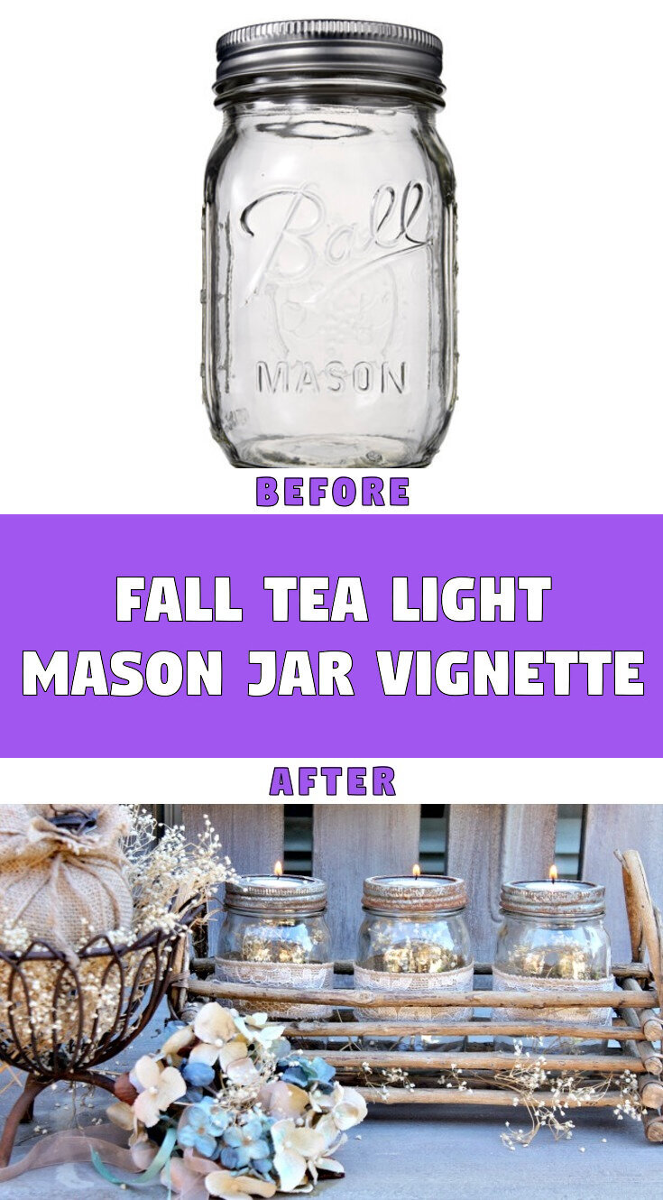 Fall Tea Light Mason Jar Vignette