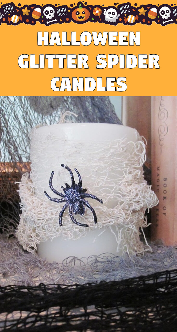 Halloween Glitter Spider Candles