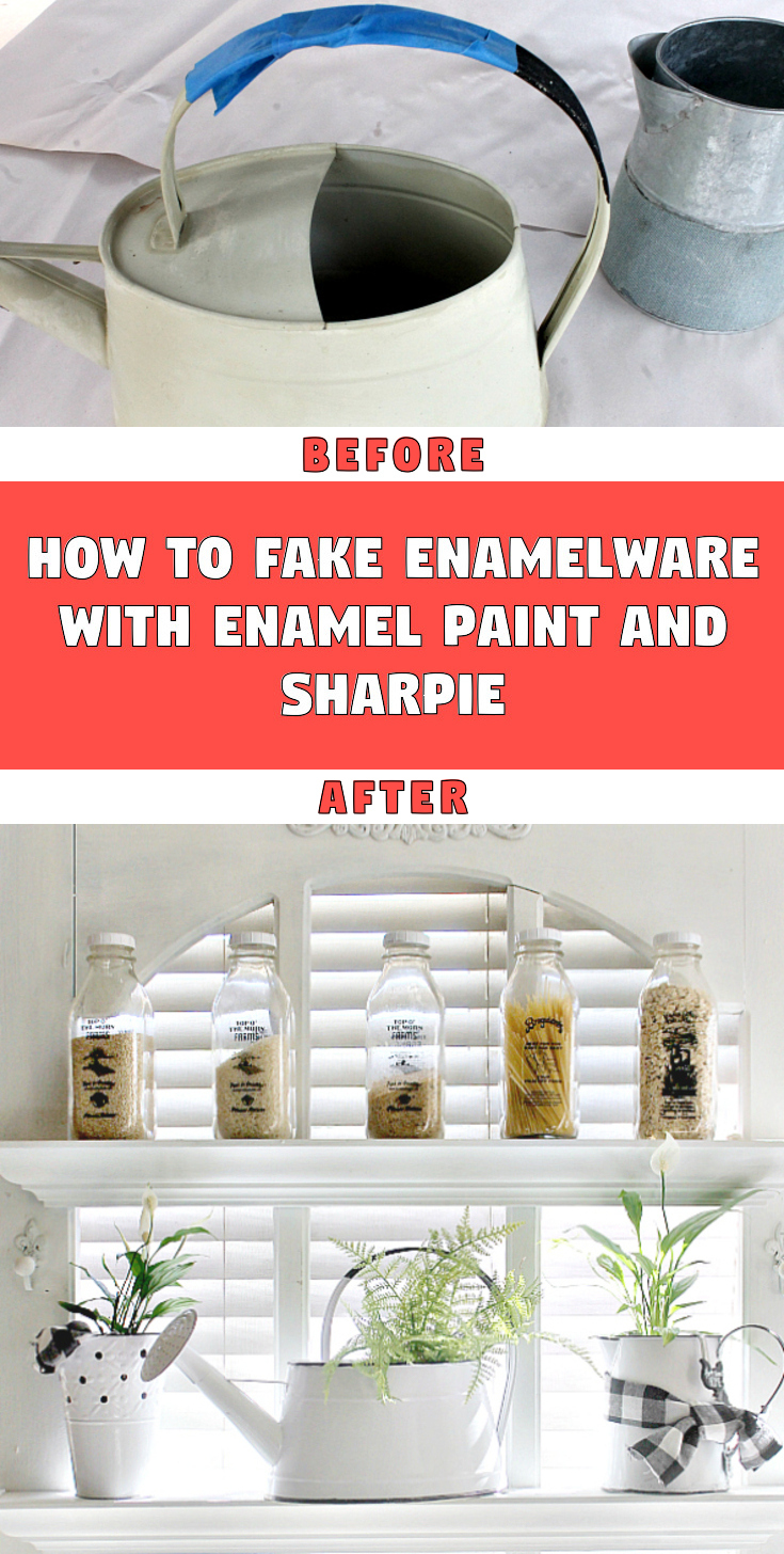 How To Fake Enamelware with Enamel Paint and Sharpie