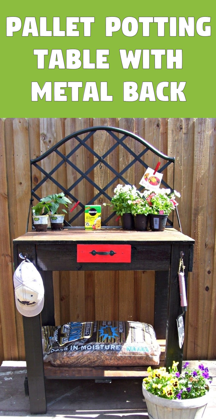 Pallet potting table with metal back