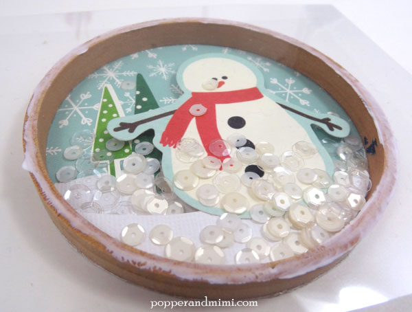 Embroidery hoop snow globe Christmas tree ornament