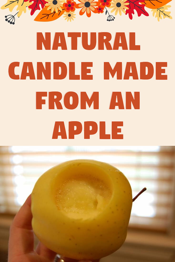 Natural candle made from an apple