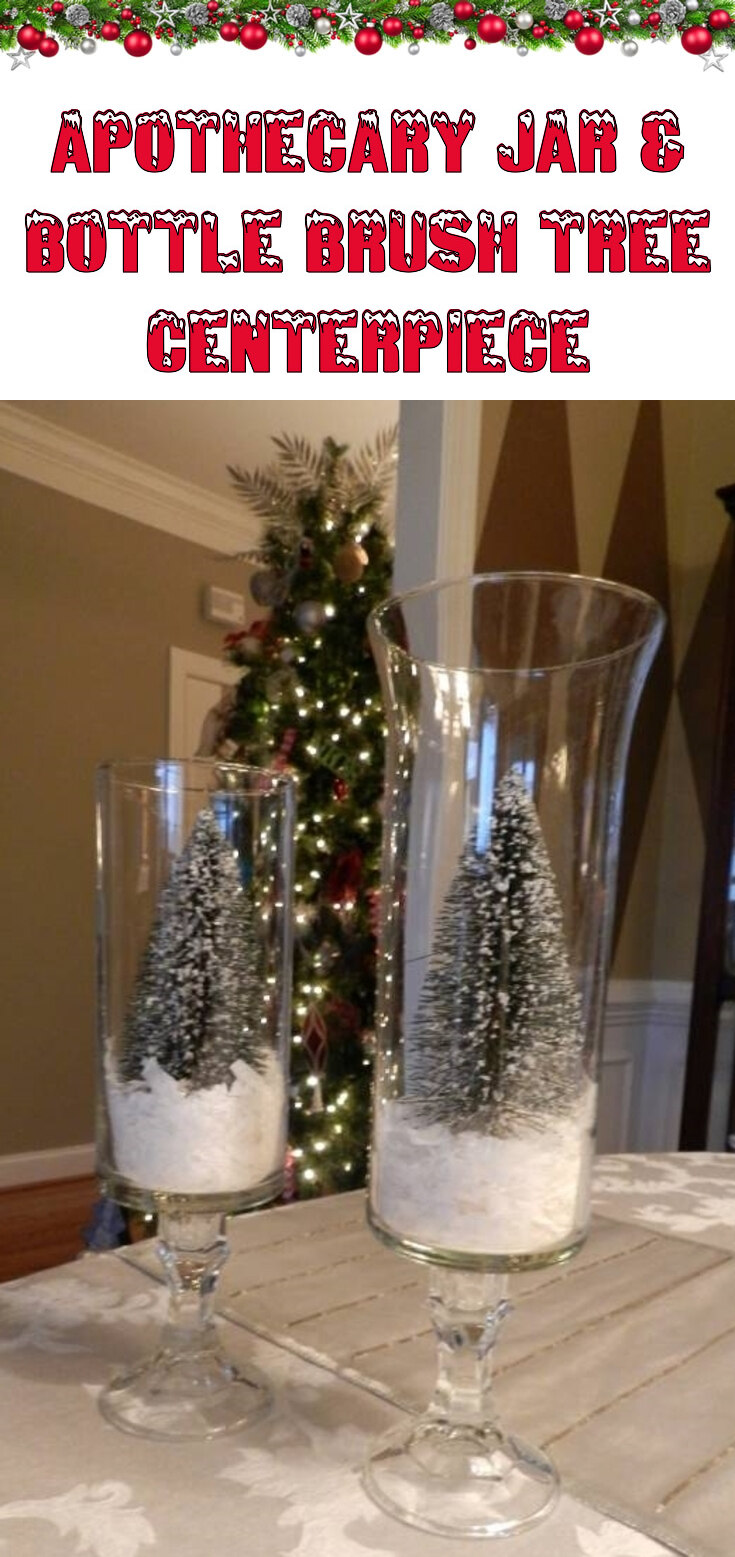 Apothecary Jar & Bottle Brush Tree Christmas Centerpiece