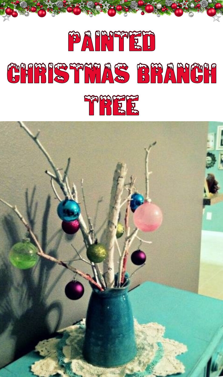 Painted Christmas branch tree