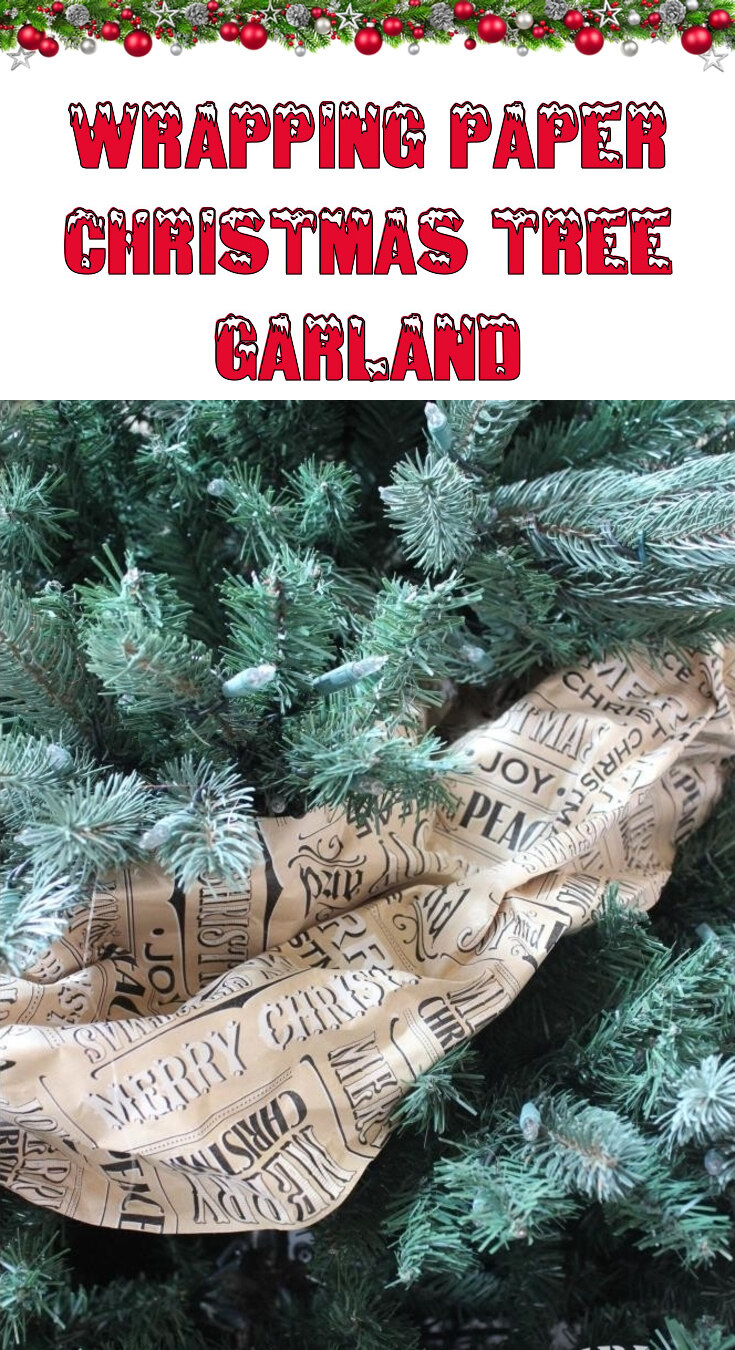 Wrapping paper Christmas tree garland