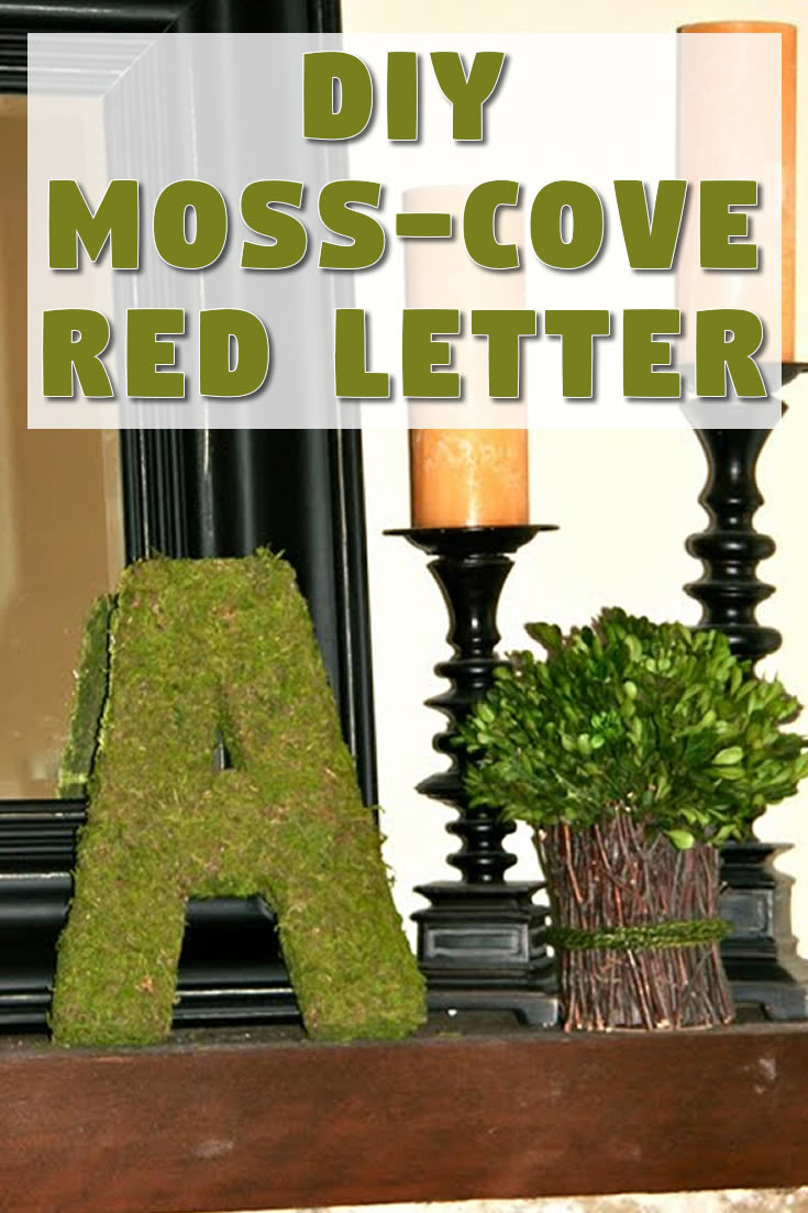 DIY moss-covered letter
