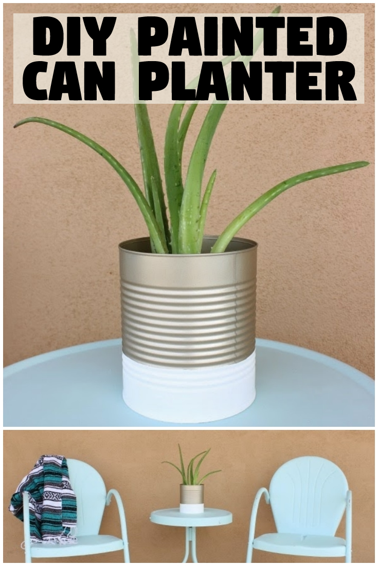 DIY Painted Can Planter