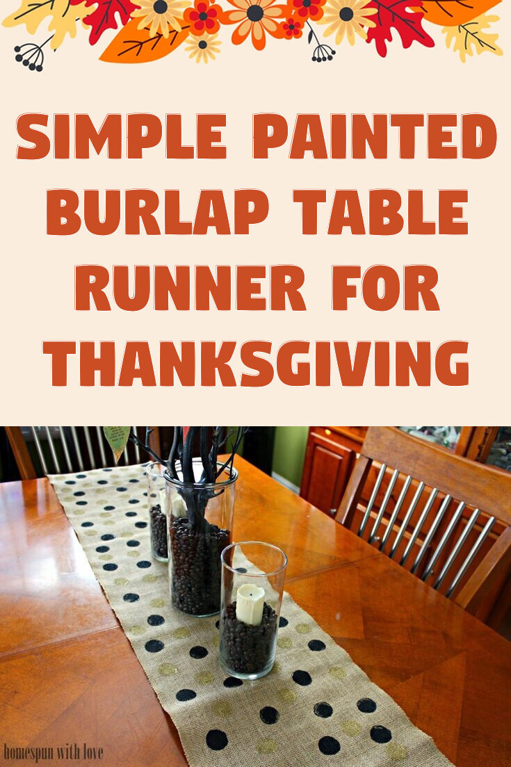 Simple Painted Burlap Table Runner For Thanksgiving