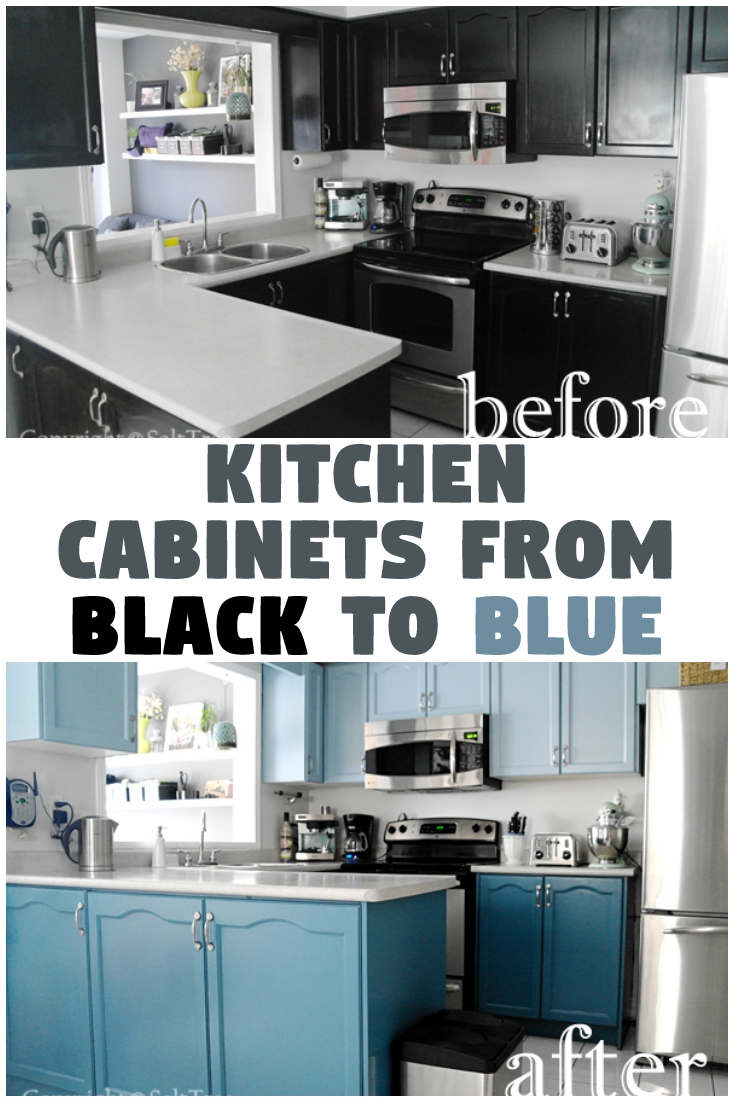 Kitchen cabinets from black to blue